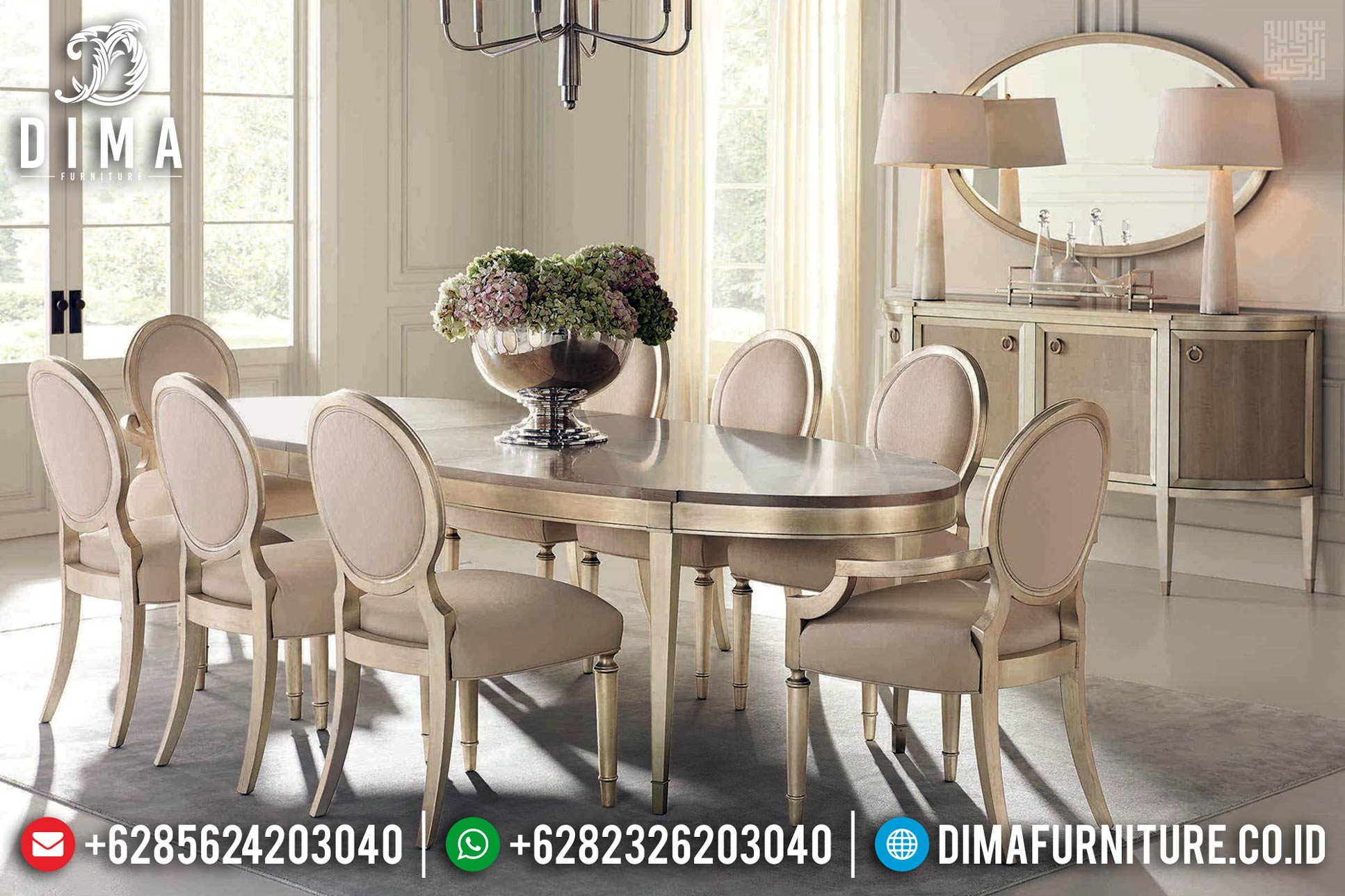 Meja Makan Jati Minimalis Modern French Furniture Style TTJ-0406