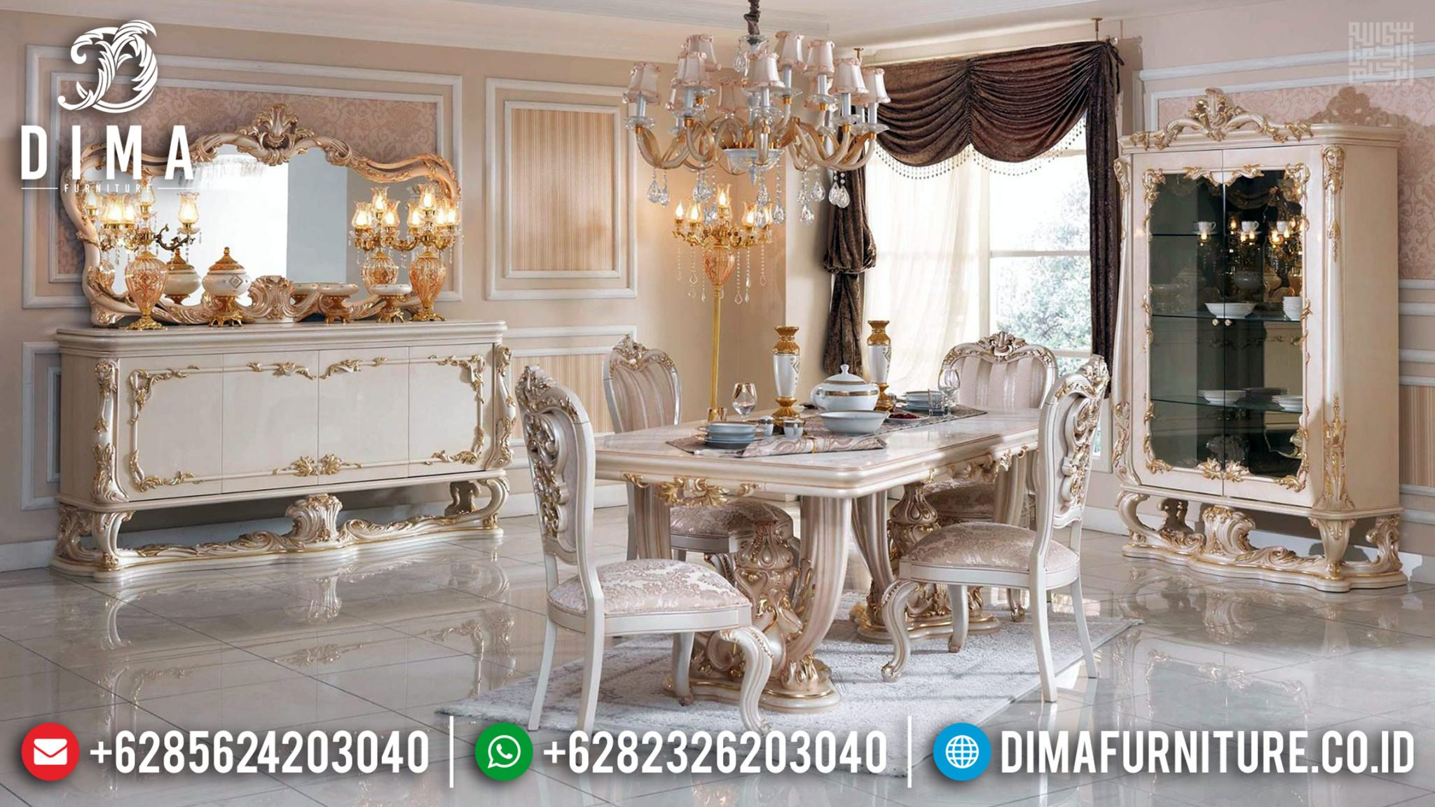 Meja Makan Mewah Alexandria New Design Luxury Furniture Jepara TTJ-0387