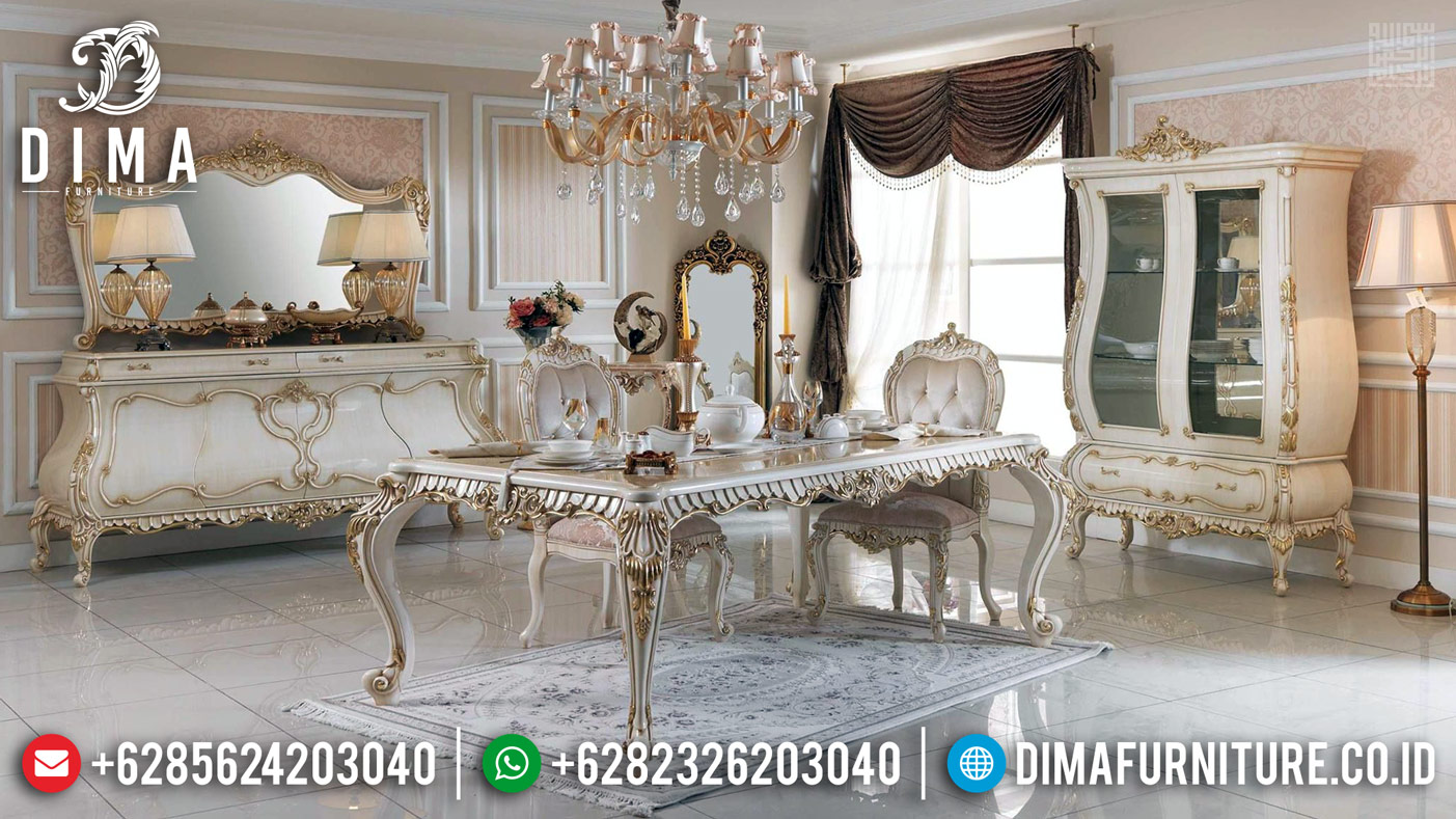 Meja Makan Mewah Carolina New Design Luxury Classic Furniture Jepara TTJ-0383