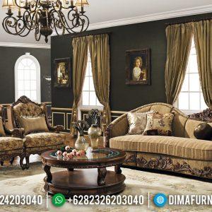 New Design Sofa Tamu Mewah Luxury Carving Natural Jati Jepara TTJ-0391