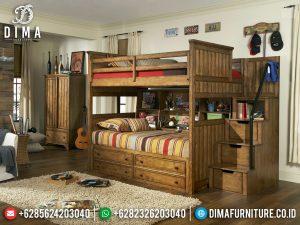 New Design Tempat Tidur Tingkat Anak Natural Jati Furniture Jepara TTJ-0413