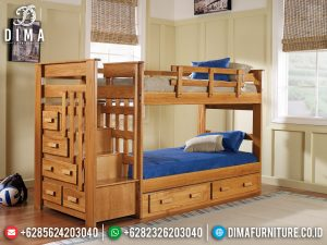 New Kamar Set Anak Dipan Tingkat Natural Jati Belanda Full Drawer TTJ-0411