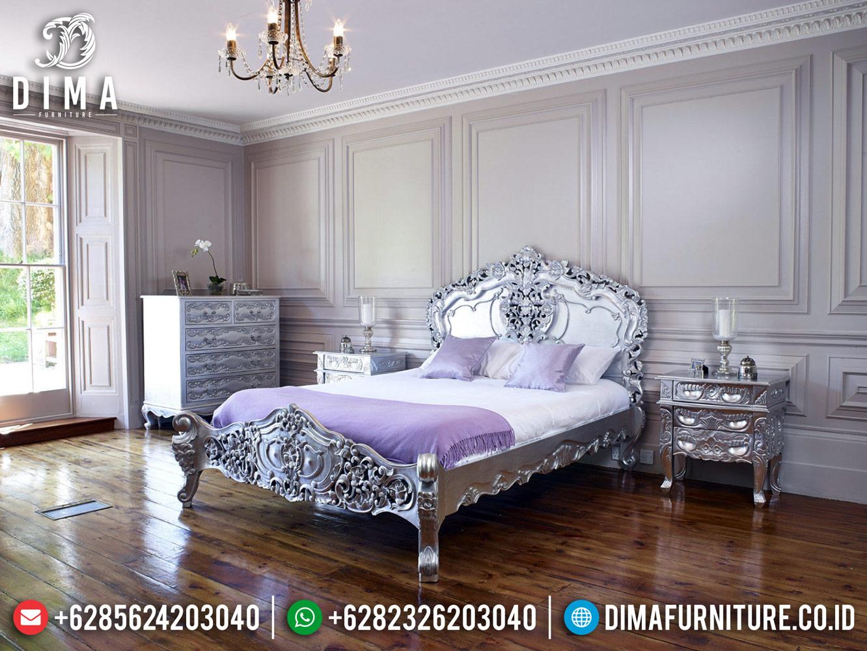 New Kamar Set Mewah, Tempat Tidur Ukiran Silver Glossy Duco Color TTJ-0475