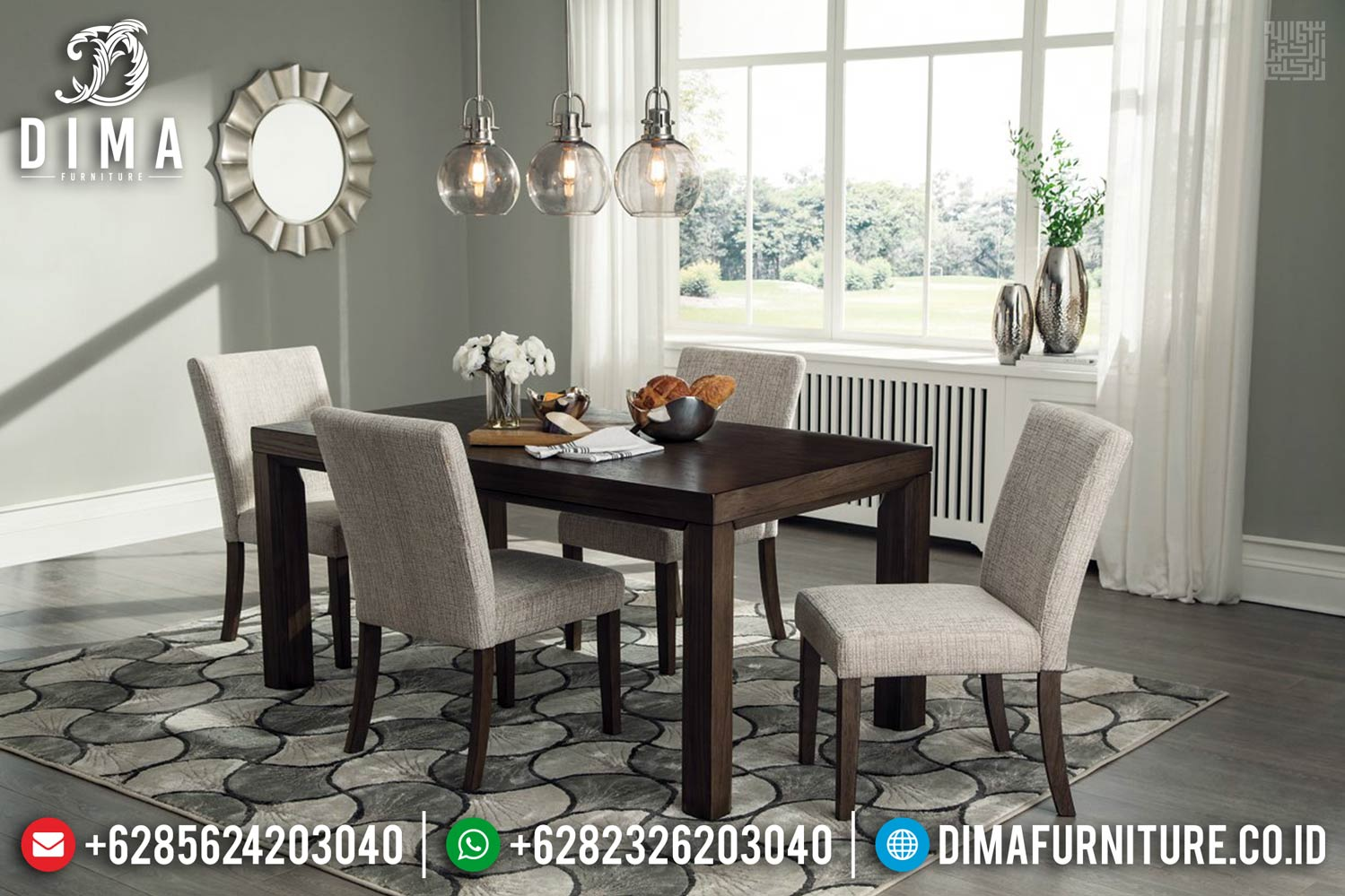 New Meja Makan Jati Minimalis Full Fabric Furniture Jepara Terlaris TTJ-0404