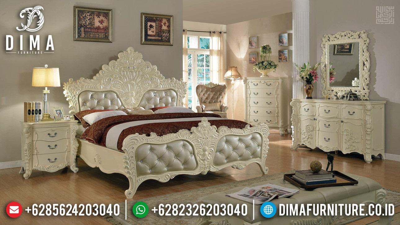 New Tempat Tidur Mewah Putih Duco Ukiran Luxury Classic Jepara TTJ-0394