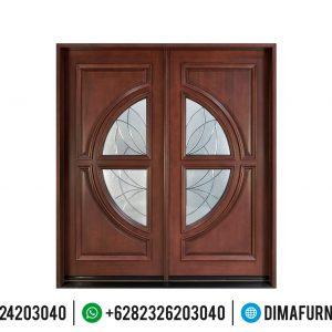 Pintu Jati Jepara Dua Daun Kombinasi Kaca Furniture Jepara Online TTJ-0496