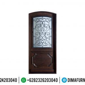 Set Pintu Kayu Jati Mewah Dan Kusen Rumah Kombinasi Kaca TTJ-0502