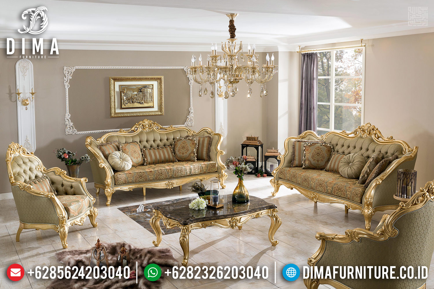 Sofa Tamu Mewah Europe Kingdom Ukiran Barocco Design Luxury Furniture Jepara TTJ-0446