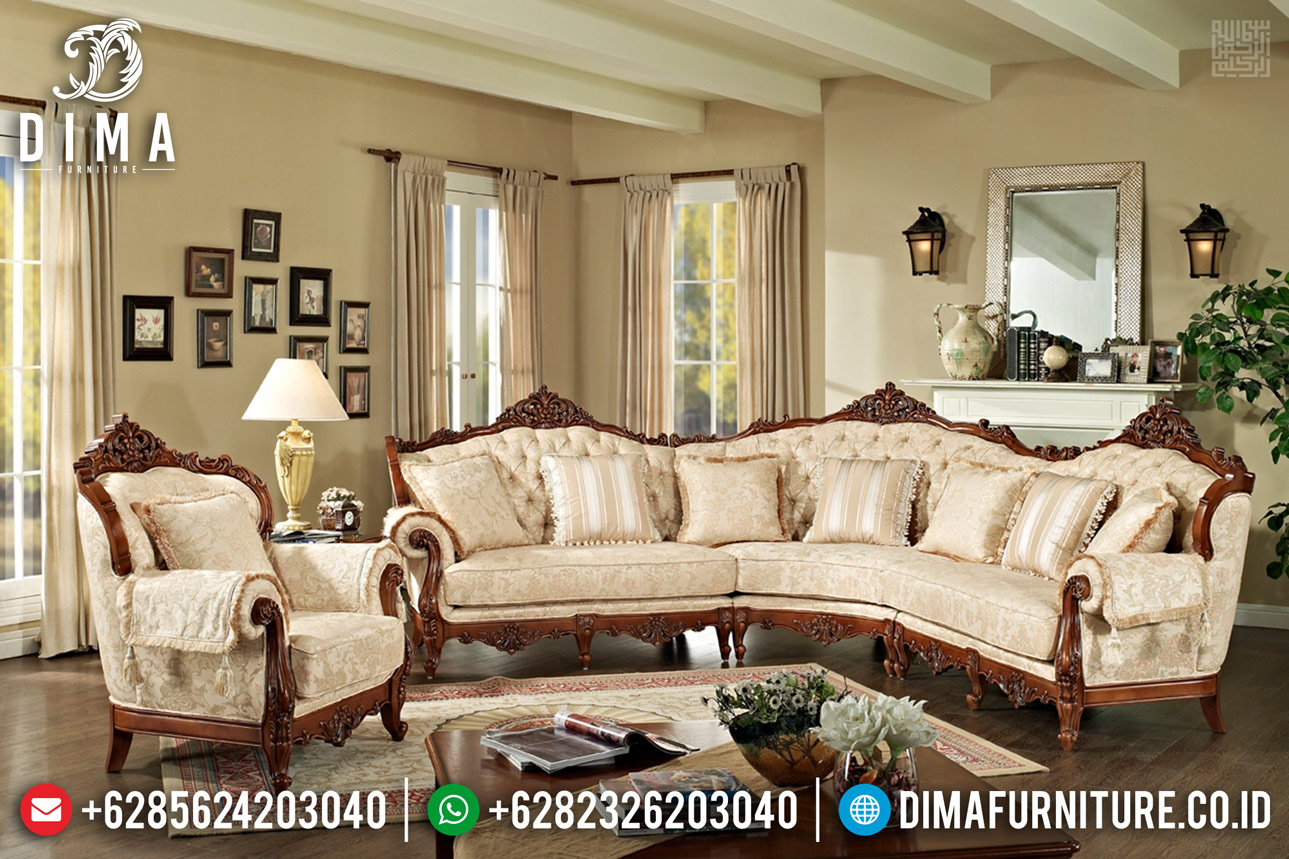 Sofa Tamu Sudut Mewah Jati Ukiran Luxury Classic New 2020 TTJ-0393