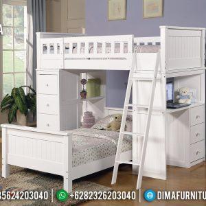 Tempat Tidur Anak Cantik, Dipan Tingkat Anak Jepara Terbaru Putih Duco TTJ-0414