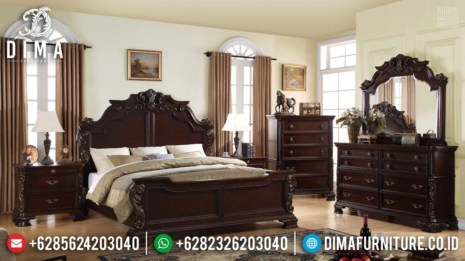 Tempat Tidur Mewah Jati Jepara Luxury Crown Carving Furniture Jepara TTJ-0423