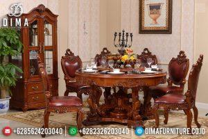 Desain Meja Makan Mewah, Kursi Meja Makan Ukiran Jepara, Meja Makan Raja Luxury Natural Jati TTJ-0531