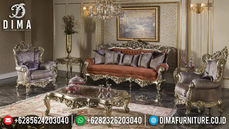 Desain Sofa Tamu Mewah Lotus Ukiran New Klasik Jepara TTJ-0572