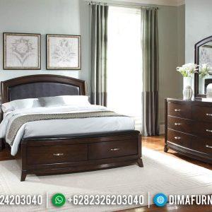 Desain Tempat Tidur Minimalis Model Laci Jati Natural Classic Dark Brown TTJ-0548