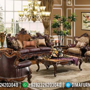 Harga Sofa Tamu Mewah Jepara Luxury Classic Natural Jati Ukiran TTJ-0518