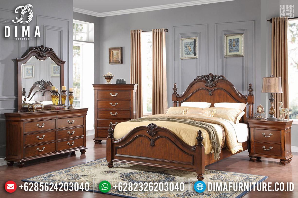 Harga Tempat Tidur Minimalis Kayu Jati Natural Classic Jepara TTJ-0545
