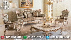 Kursi Tamu Sofa Mewah Ukiran Golden Crown Luxury Design TTJ-0569