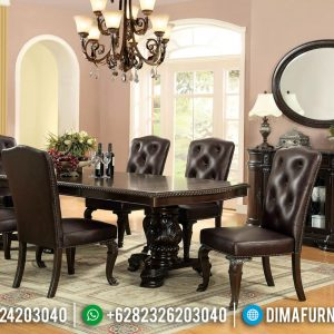 Meja Makan Jati Ukiran Natural Classic Dark Brown Furnishing TTJ-0583