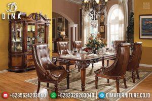 Meja Makan Kayu Jati Desain Mewah Natural Classic New Furniture Jepara TTJ-0529