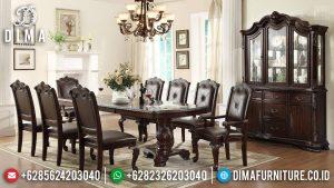 Meja Makan Mewah Jepara, Kursi Meja Makan Natural Jati, Set Dining Table Luxury TTJ-0525