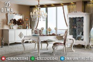 Meja Makan Mewah Jepara Putih Duco Classic Luxury Carving TTJ-0573
