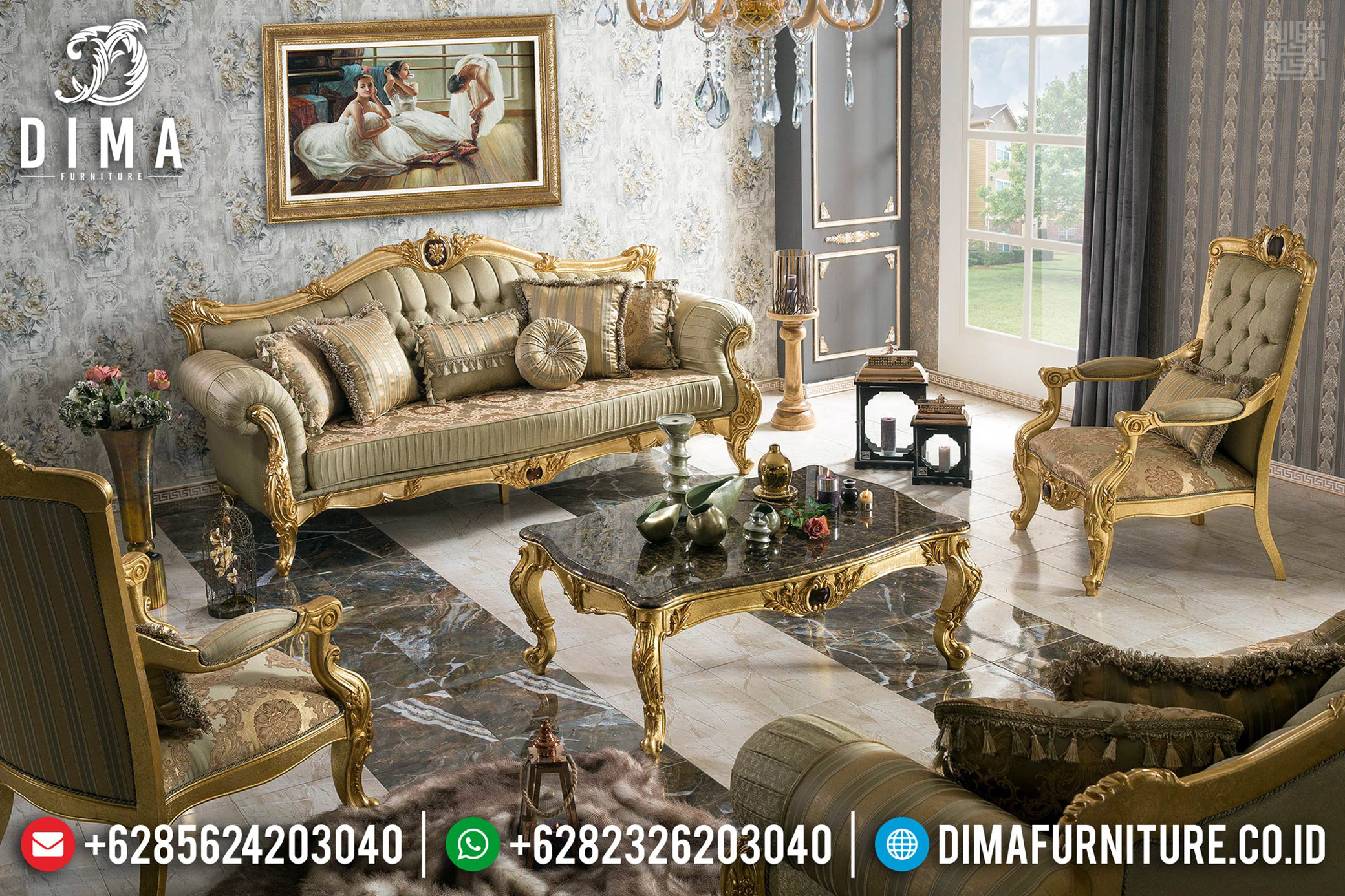 Set Kursi Sofa Tamu Mewah Jepara Golden Gloss Duco Color TTJ-0559