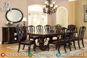 Set Meja Makan Jati Natural Salak Brown Desain Classic Carving TTJ-0577