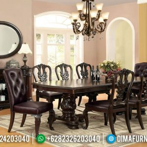 Set Meja Makan Jati Natural Salak Brown Desain Classic Carving TTJ-0577