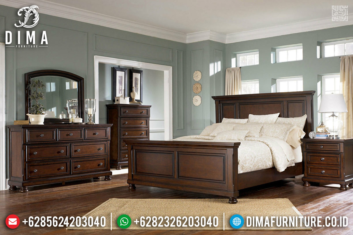 Set Tempat Tidur Minimalis Kayu Jati Natural Dark Brown Furniture Jepara TTJ-0542