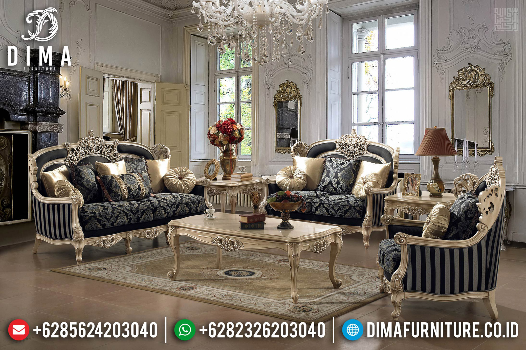Sofa Tamu Mewah Gloria Design Luxury Carving Jepara TTJ-0560