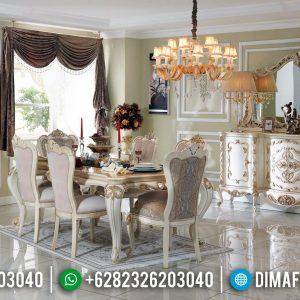 Desain Interior Meja Makan Ukiran Mewah Furniture Jepara Terbaru TTJ-0651