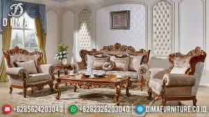 Desain Mewah Sofa Tamu Ukiran Jepara Natural Jati Kombinasi Luxury Classic TTJ-0625
