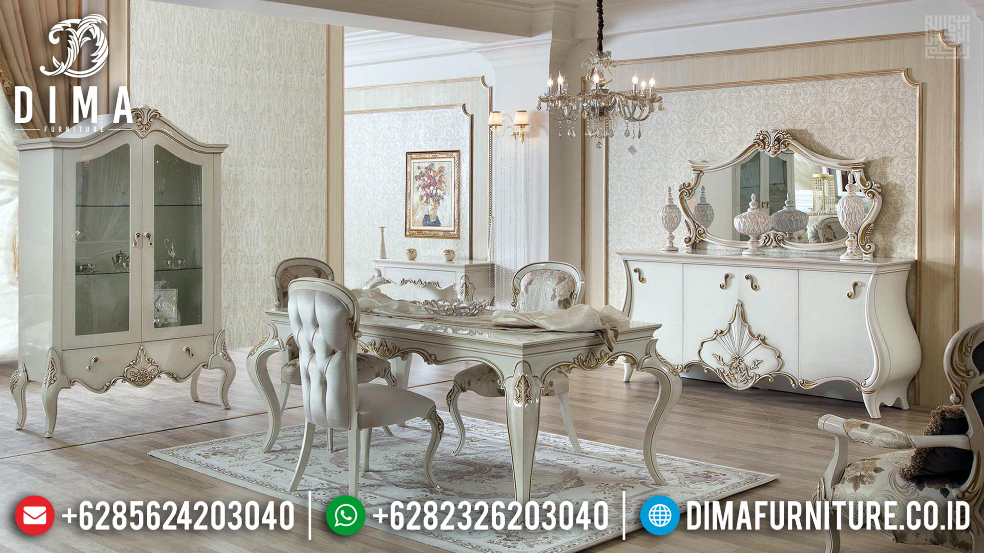 Harga Meja Makan Ukiran Klasik Luxury Desain Interior Mewah Furniture Jepara TTJ-0652