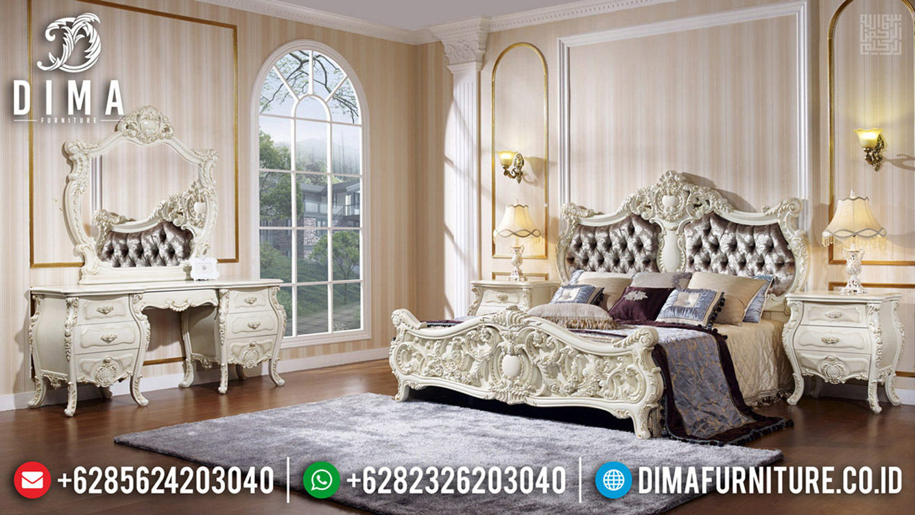 Harga Tempat Tidur Ukir Jepara Luxury Classic White Duco Color TTJ-0592