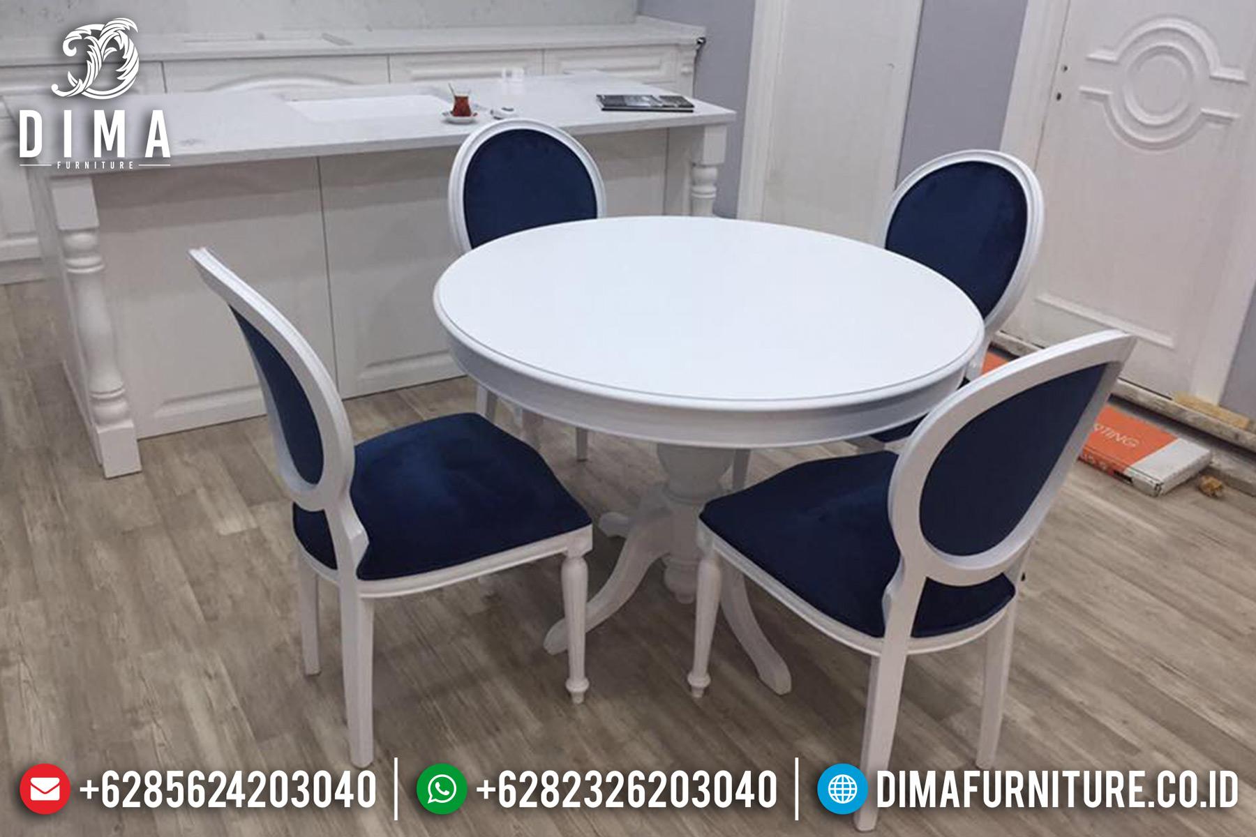 Jual Meja Makan Minimalis Bundar White Duco Color Furniture Jepara Berkualitas TTJ-0615