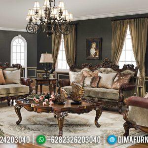 Jual Sofa Tamu Jati Natural Kombinasi Luxury Carving Furniture Jepara TTJ-0608