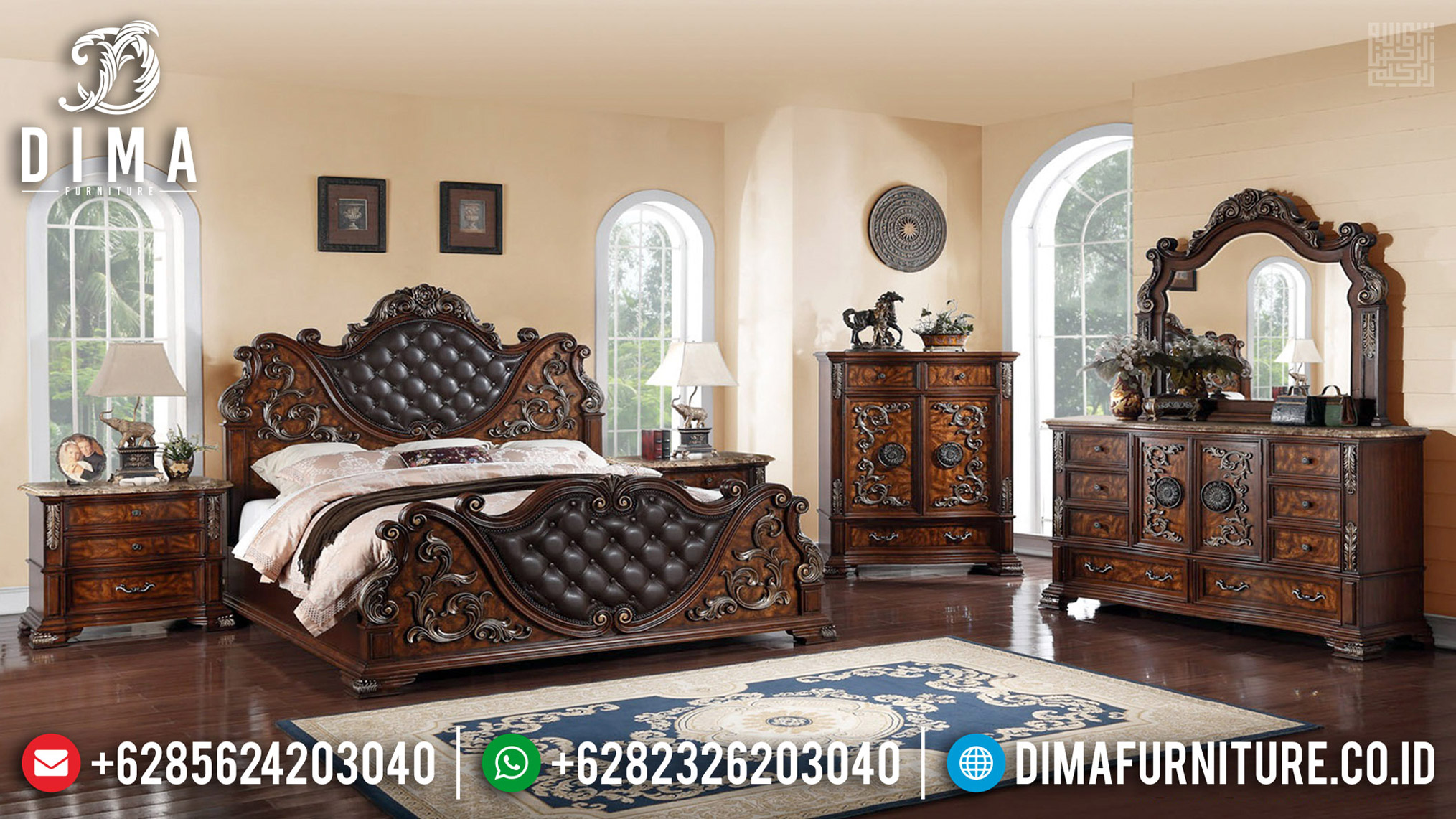 Jual Tempat Tidur Jati Klasik Ukiran Luxury Jepara Best Quality TTJ-0596