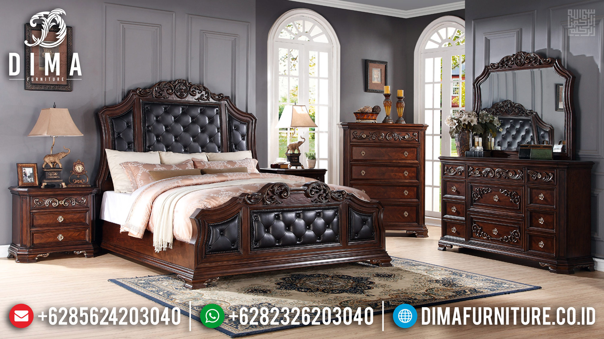 Kamar Set Mewah Jati Natural Klasik Ukiran Jepara Best Quality TTJ-0598
