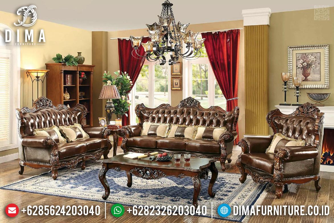 Kursi Ruang Tamu Set Sofa Tamu Mewah Luxury Carving Jati Natural Jepara TTJ-0643