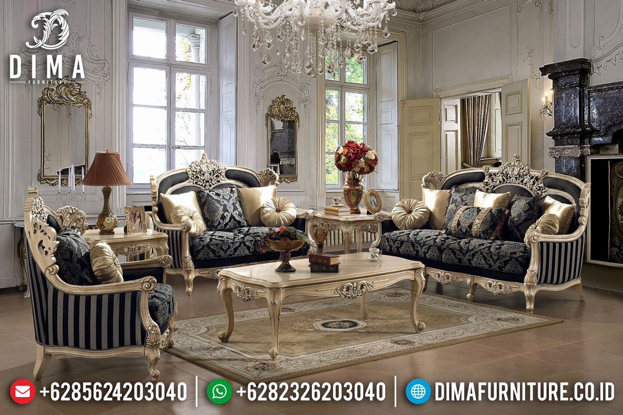 Luxury Furniture Jepara Sofa Tamu Mewah Golden Glossy Ukiran Klasik Great Quality TTJ-0636