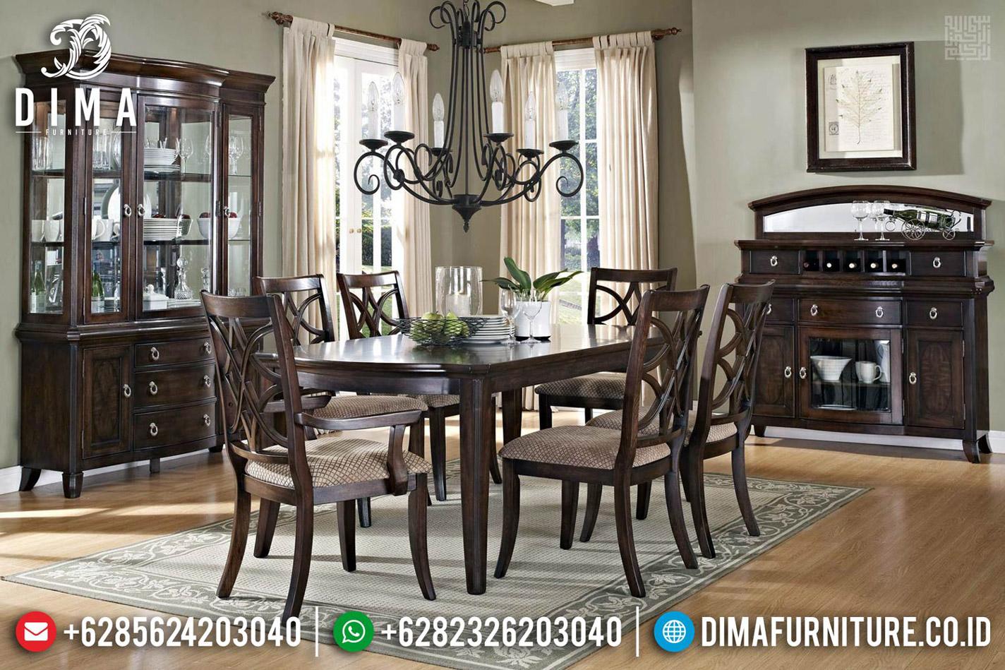 Meja Makan Jati Minimalis Kayu Perhutani Luxury Classic Salak Brown Color TTJ-0619