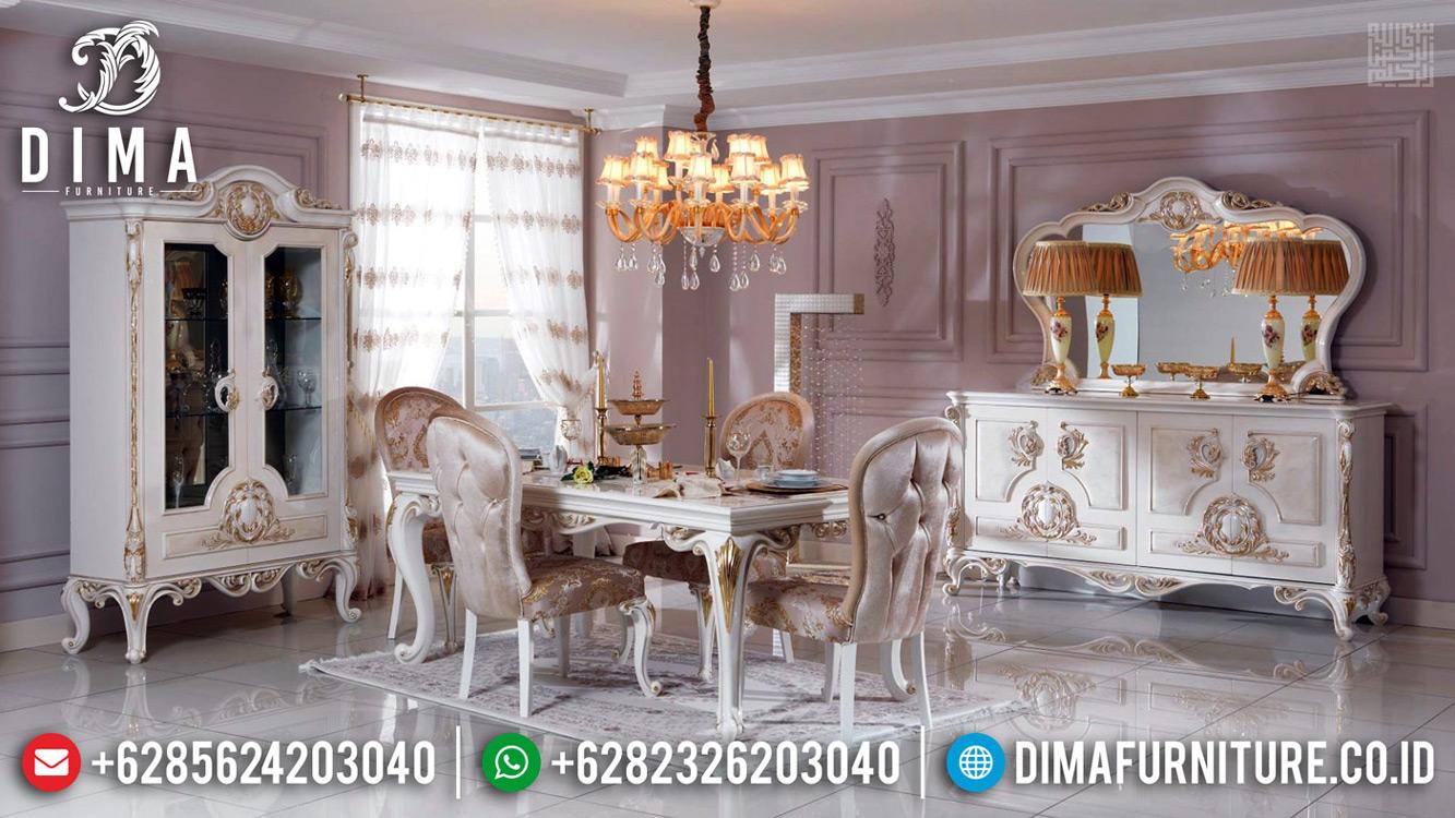 New Models Meja Makan Mewah White Duco Glossy Luxurian Versailles TTJ-0657