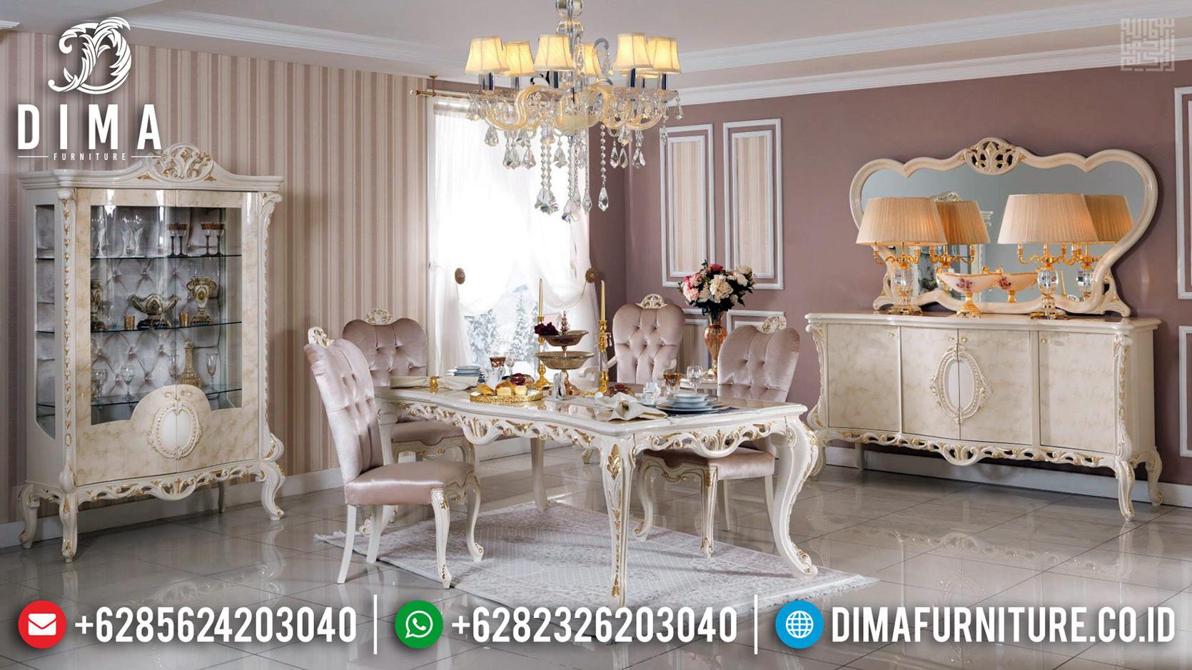 New Set Meja Makan Mewah Ukiran Artistik Luxury Furniture Jepara Termewah TTJ-0658