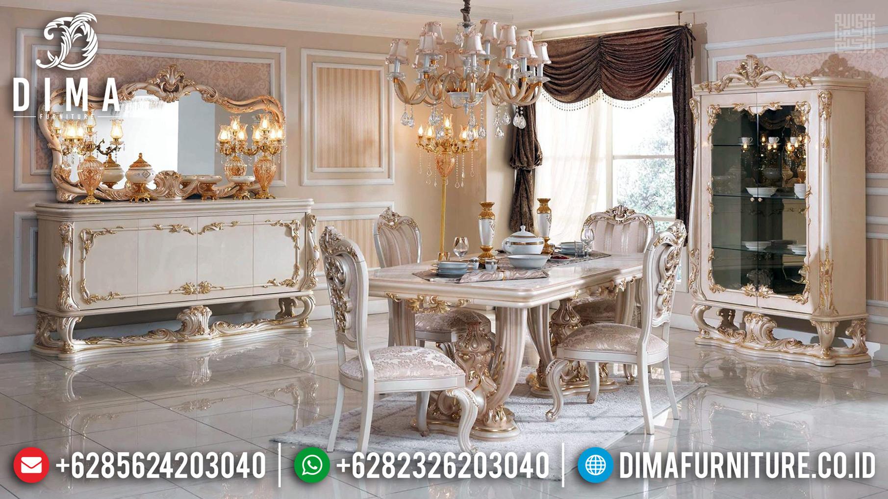 Set Meja Makan Mewah 6 Kursi Ukiran Mahkota Luxury Jepara New Release TTJ-0653