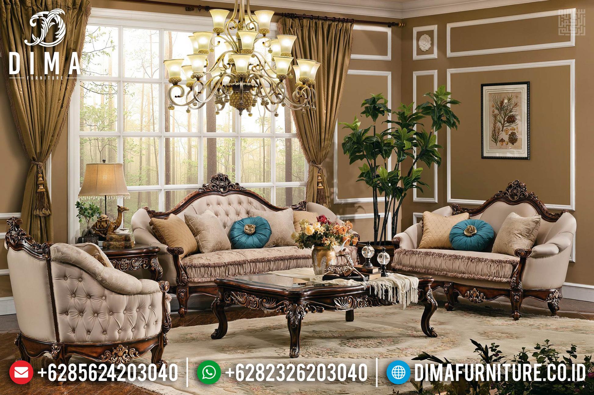 Set Sofa Tamu Mewah, Kursi Ruang Tamu Ukiran Jepara Luxury Klasik TTJ-0647
