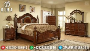 Set Tempat Tidur Mewah Jati Natural Klasik Furniture Jepara Terbaru TTJ-0599