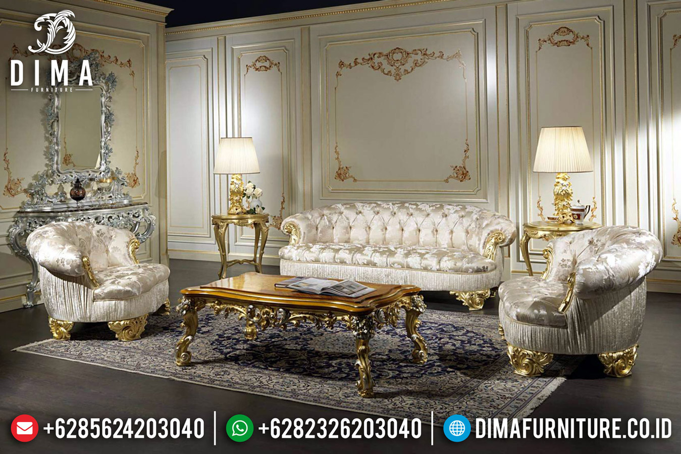 Sofa Tamu Mewah Design Interior Luxury Golden Duco Color Furniture Jepara TTJ-0609
