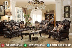 Sofa Tamu Mewah Jepara Barcelona Luxury Ukiran Mahkota Natural Jati TTJ-0644
