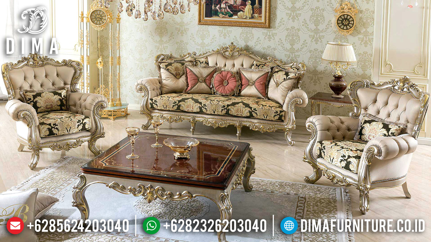 Sofa Tamu Mewah Turkish Koltuk Furniture Luxury Carving TTJ-0630