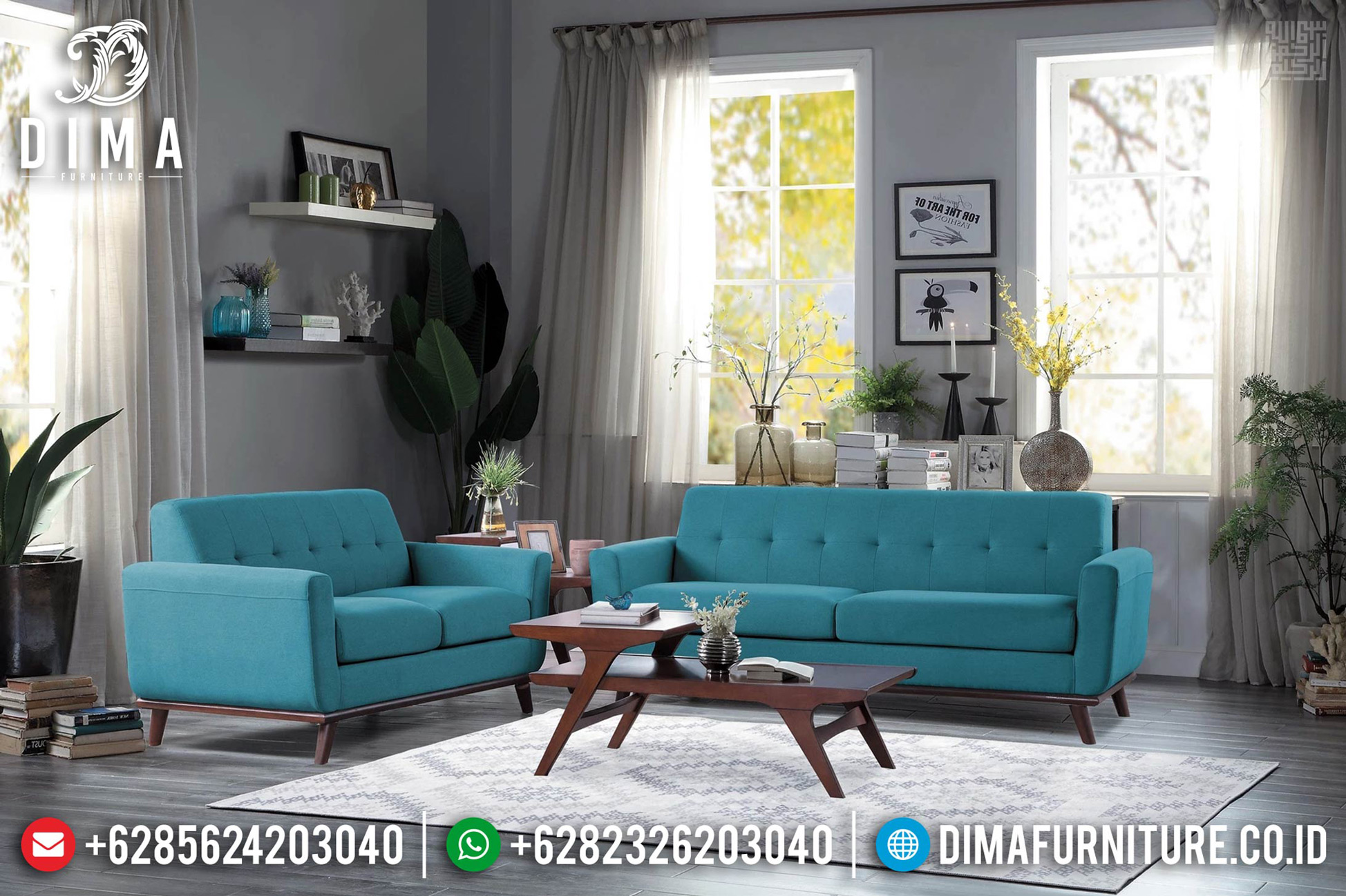 Sofa Tamu Minimalis Klasik Jati Natural Perhutani New Design Interior TTJ-0637